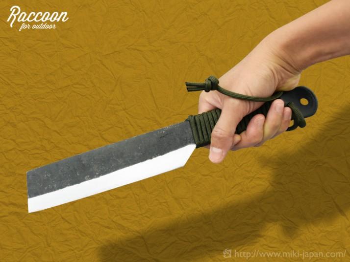 みきかじや村 Raccoon 鉈両刃 黒打 165 パラコード柄 木鞘