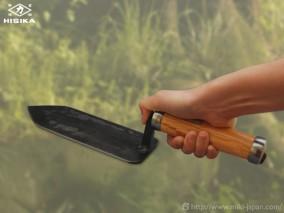 造園土間たたき鏝 貫通柄 剣先型 180mm