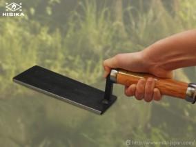 造園土間たたき鏝 貫通柄 角型 180mm
