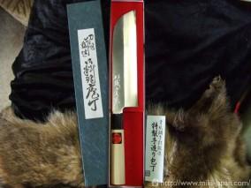 誠貴作 青紙鋼 カスミ仕上水牛柄 鎌型薄刃 7寸