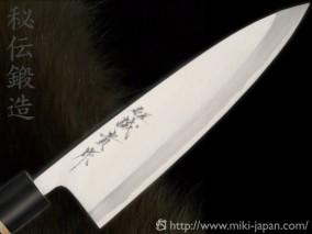 誠貴作 青紙鋼カスミ仕上 水牛柄 出刃 5.5寸