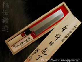 誠貴作 青紙鋼カスミ仕上水牛柄 薄刃 6寸