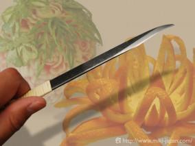 フルーツカービングナイフ 曲型 本藤巻 12mm