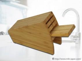 最大210mmまでの包丁に対応 抗菌・衛生面に優れ台所に優しい竹集成材製
