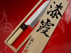 みきかじや村 蒔絵『金鳳凰』青紙鋼カスミ仕上 鎌型薄刃包丁7寸
