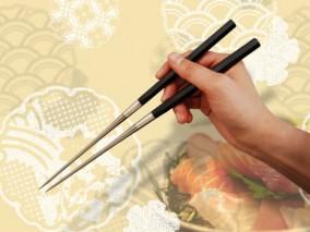 みきかじや村 純チタン黒合板六角柄盛箸 150mm
