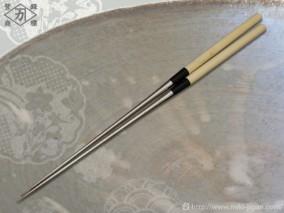 本焼ステンレス朴柄盛箸 180mm (袋入り)