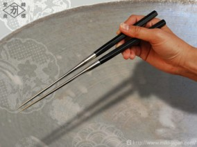 本焼ステンレス黒合板六角柄盛箸 120mm (箱入り)