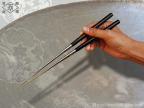 本焼ステンレス黒合板六角柄盛箸 135mm (箱入り)