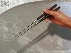 本焼ステンレス黒合板六角柄盛箸 150mm (箱入り)
