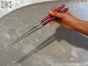 パープルハート柄盛箸 135mm (箱入り)
