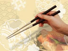 純チタン黒檀柄盛箸 150mm