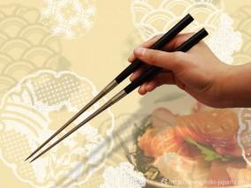 純チタン黒檀柄盛箸 165mm