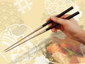 純チタン黒檀柄盛箸 180mm