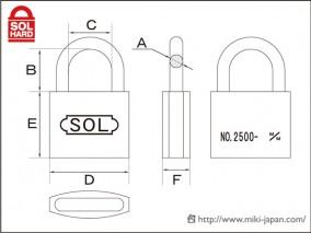 SOL HARD 2500シリンダー南京錠50 普通品