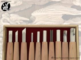 10組内容 平刀9㍉・印刀6㍉・印刀9㍉・丸刀3㍉・丸刀6㍉ 丸刀9㍉・三角6㍉・浅丸9㍉丸スクイ9㍉・浅丸スクイ12㍉